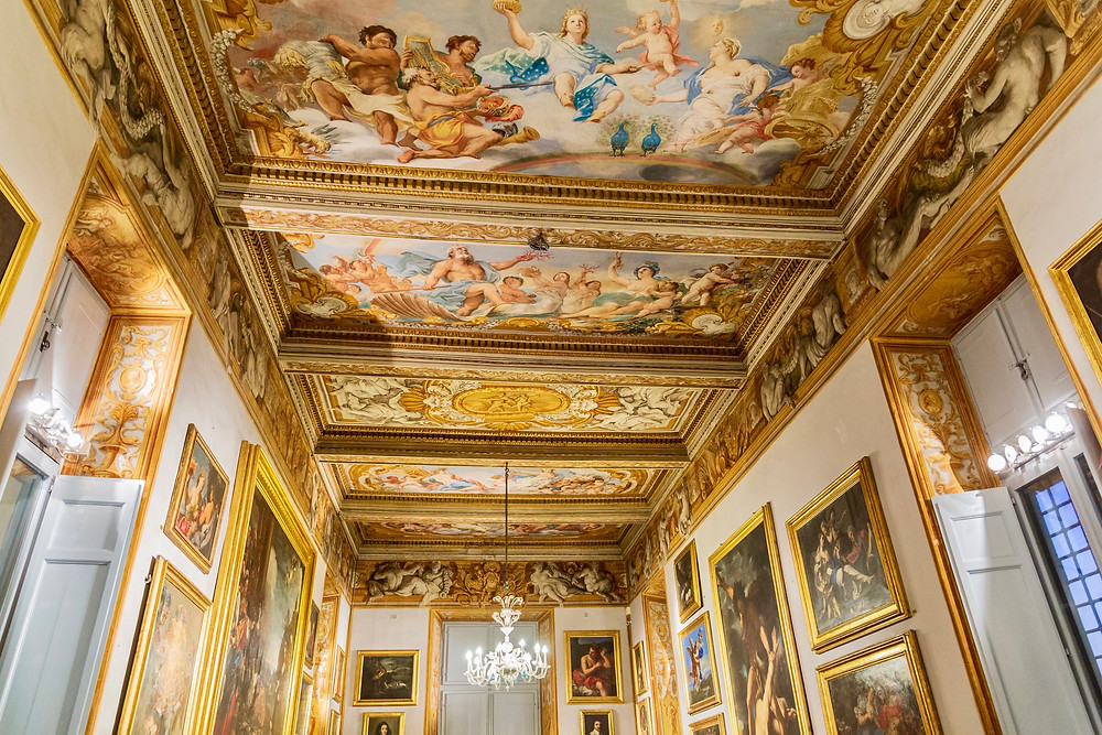 ceiling frescos and paintings in the Galleria Spada
