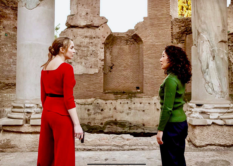 the Killing Eve stars in the Maritime Theater of Hadrian's Villa