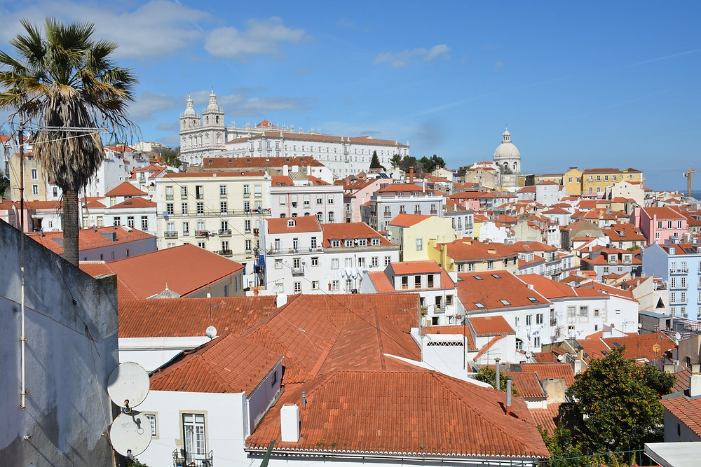 the historic Alfama neighborhood of Lisbon, view from Miradouro das Portas da Sol