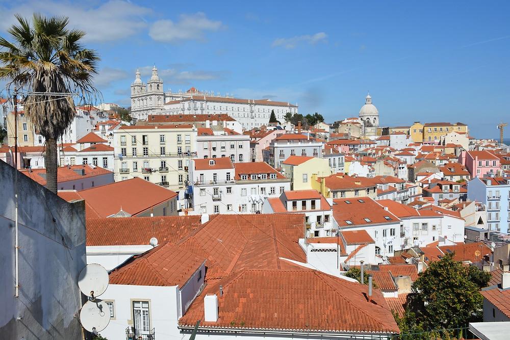 the historic Alfama neighborhood of Lisbon, view from Miradouro das Portas da Sol