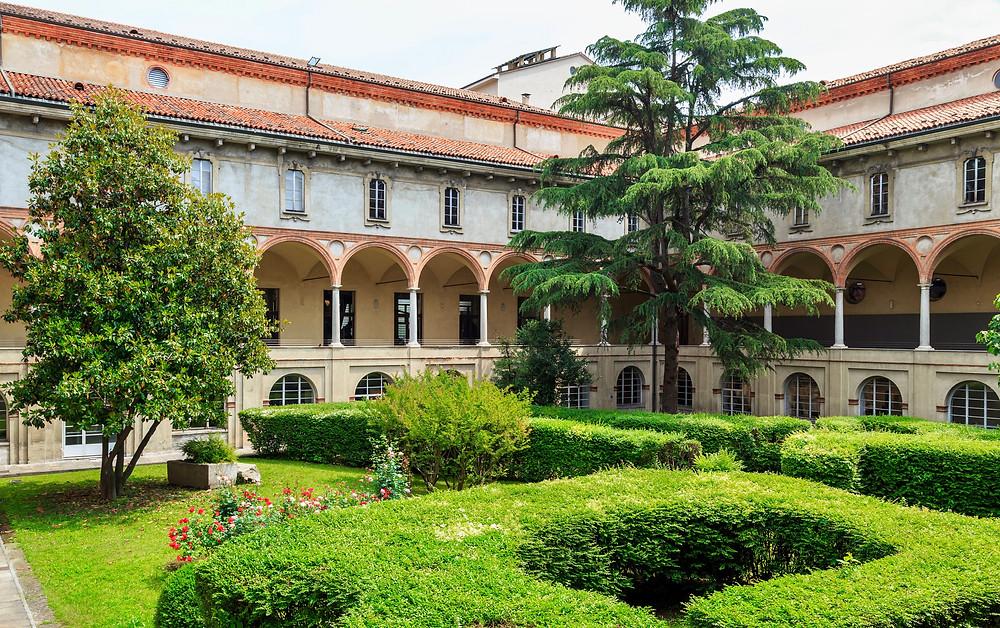 medieval cloisters that house Milan's Leonardo da Vinci Museum
