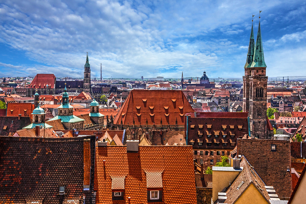 Nuremberg Germany, view from the Kaiserberg Castle