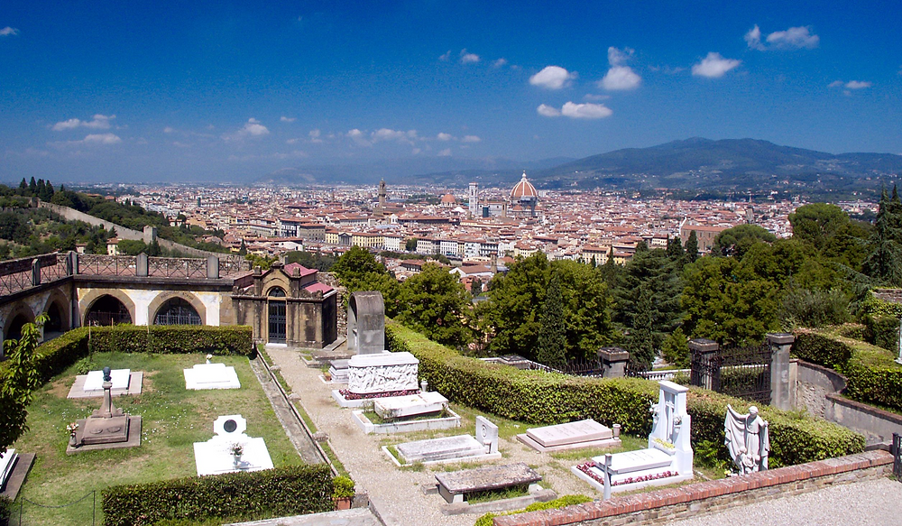 view of Florence from the monumental cemetery