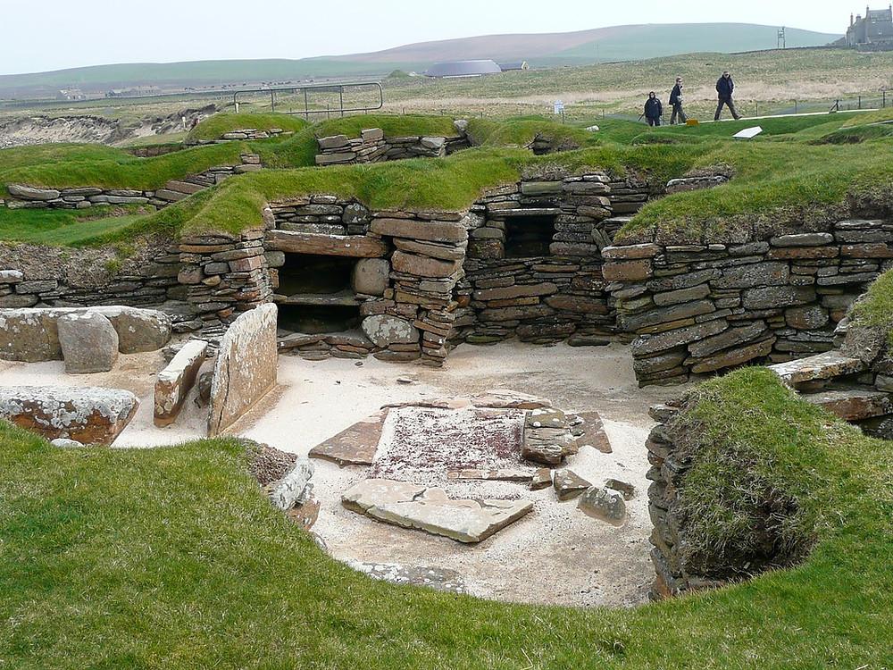 the ruins of Skara Brae in the Orkney Islands