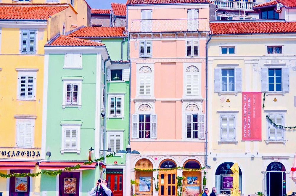 pretty pastel houses in Piran Slovenia