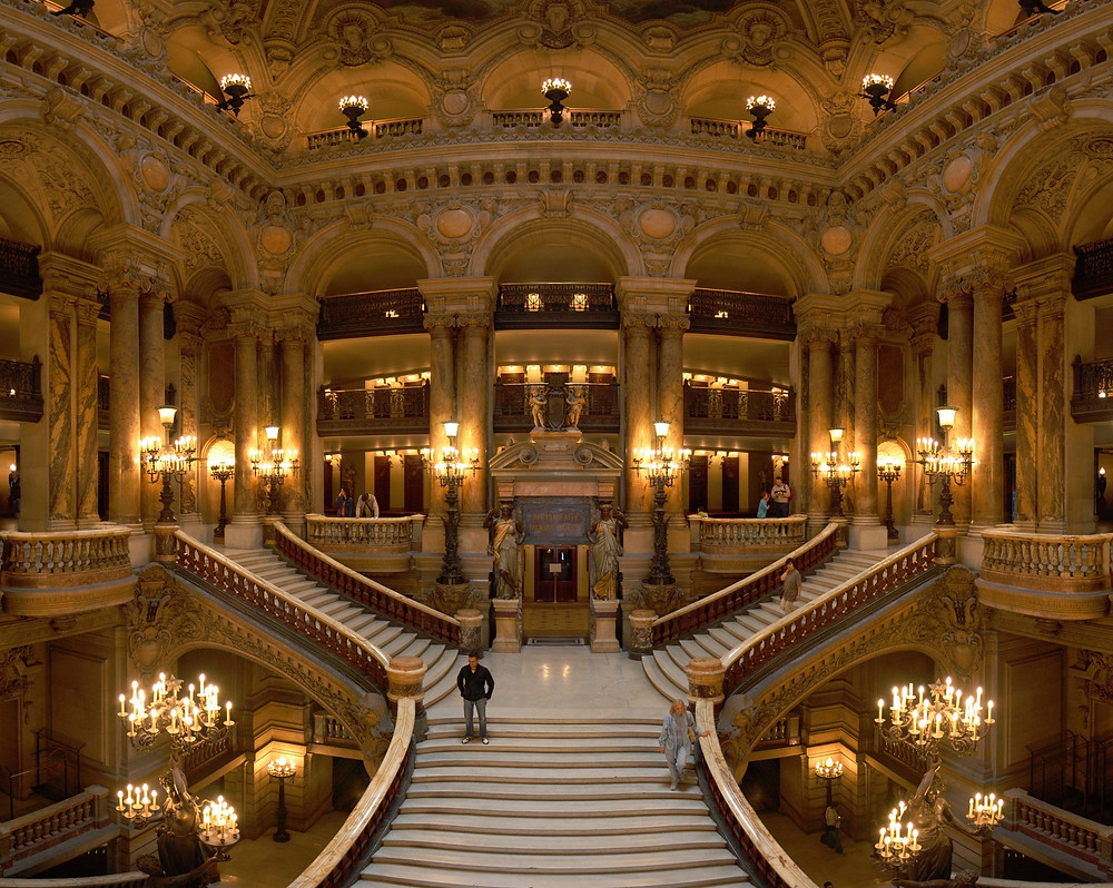 the magnificent Grand Staircase at the Paris Opera house, an unmissable site in Paris
