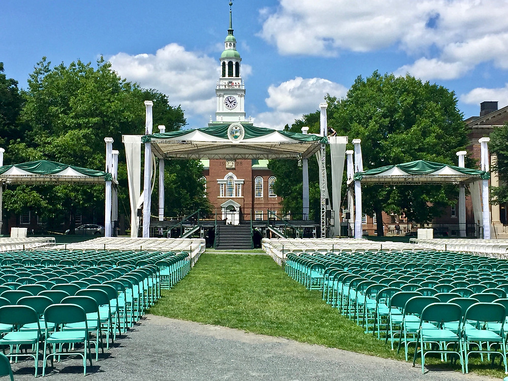 the Dartmouth Green in front of Baker Library at graduation