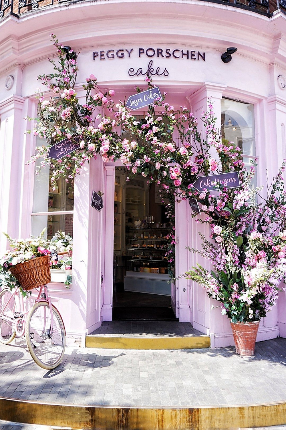 Peggy Porschen cafe and bakery in London's Belgravia neighborhood