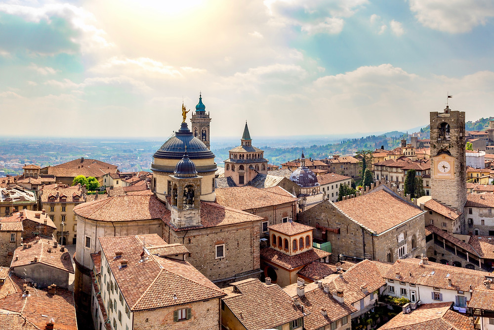 the beautiful medieval town of Bergamo in northern Italy