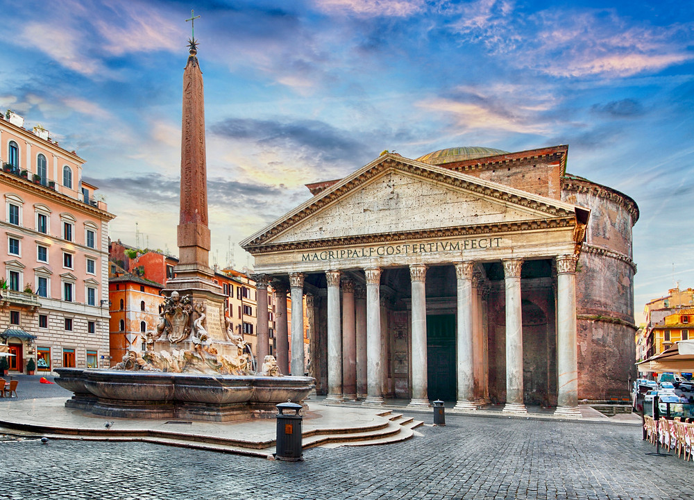 the Pantheon and the Fountain of the Pantheon, built by Emperor Hadrian
