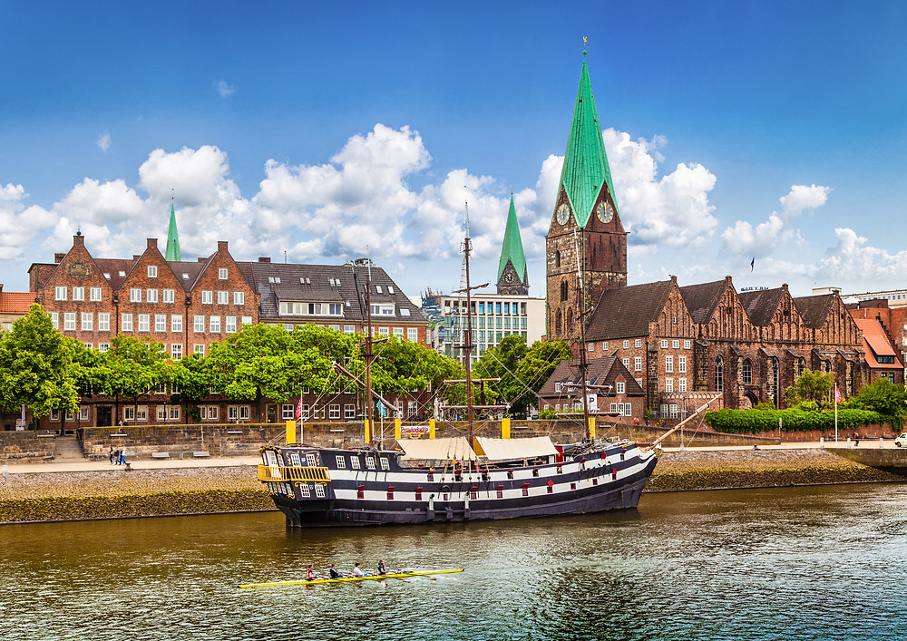 Historic town of Bremen Germany with old sailing ship on Weser River in Germany