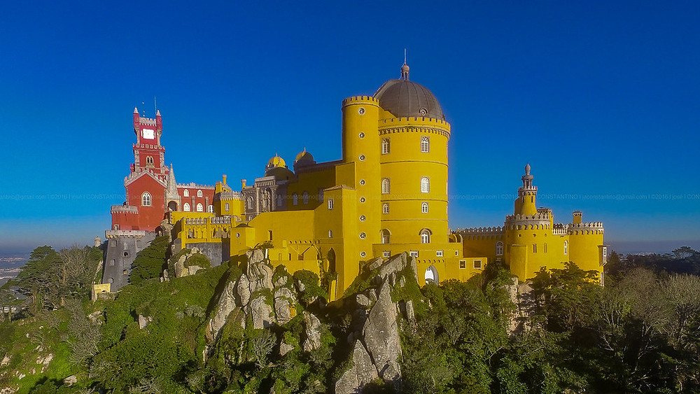 Sintra's dazzling 19th century romantic palace, Pena Palace in Sintra Portugal