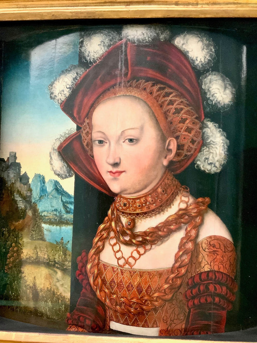 An icon of German beauty. She was originally depicted holding the head of John the Baptist. But that part of the painting was sawn off as too repulsive.