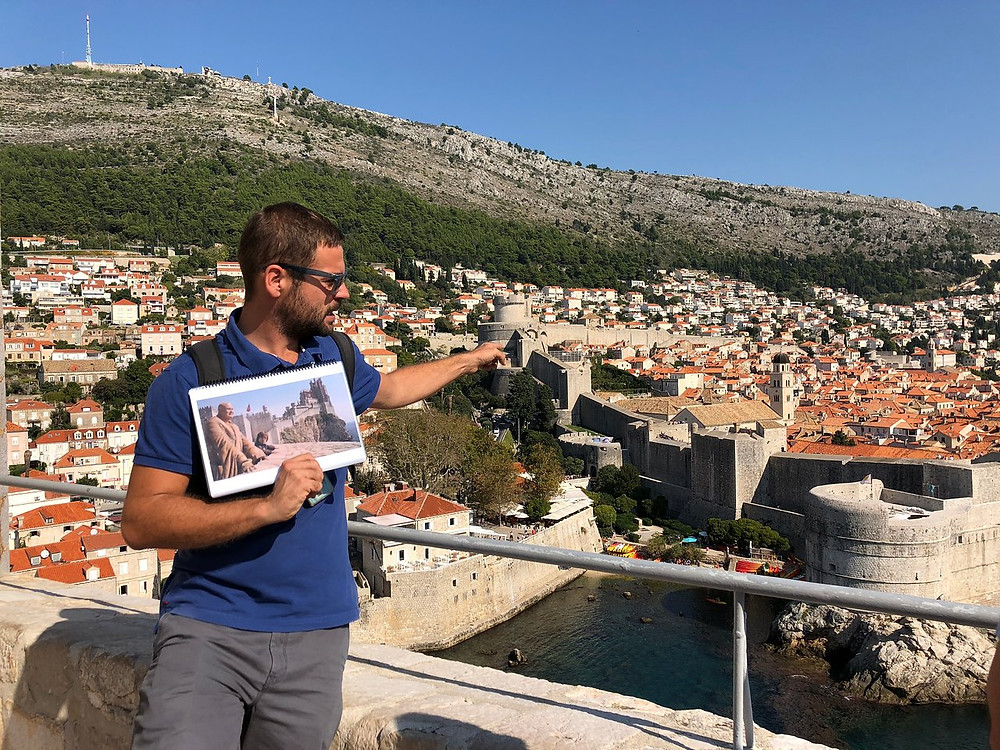 A game of throne guide pointing out the spot on the Dubrovnik city walls where Varyl and Tyrion prep for the Battle of Blackwater Bay