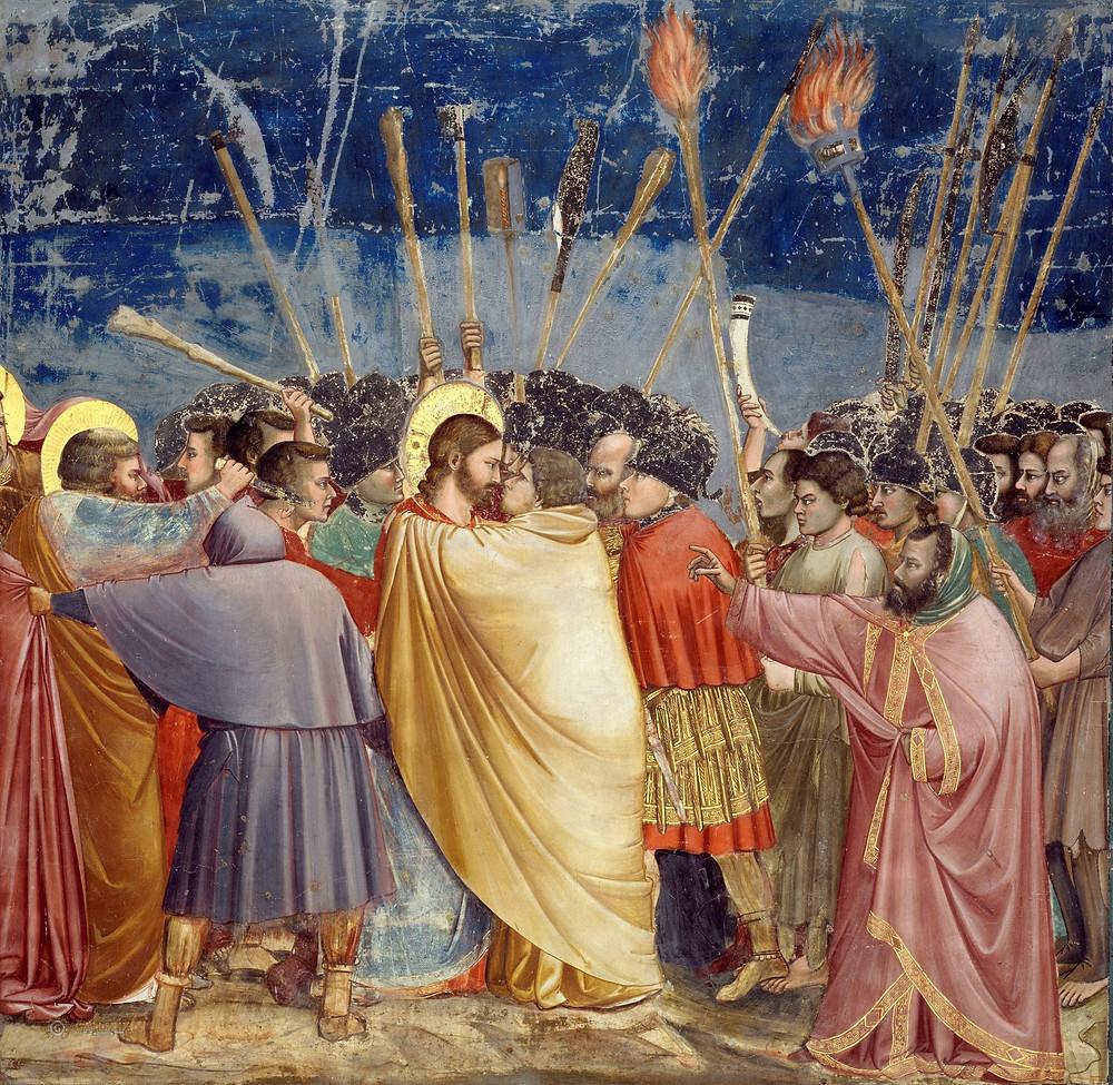 Giotto, Kiss of Judas, 1305 -- in the Scrovegni Chapel
