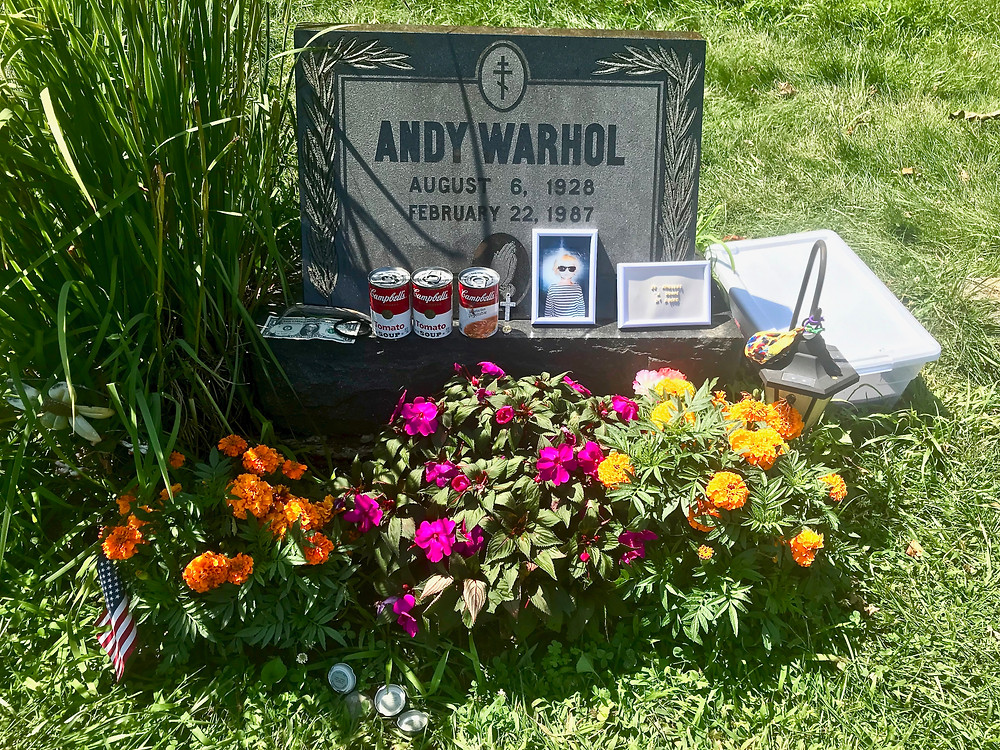 Andy Warhol's grave is just 5 minutes from my house in a Pittsburgh suburb. He was a devout Catholic and is buried with his family at St. John the Baptist Byzantine Cemetery in Bethel Park PA.