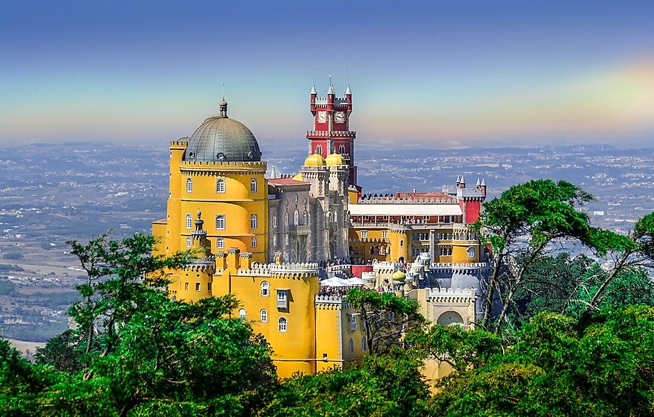 the Ronald McDonald colored facade of Pena Palace in Sintra Portugal