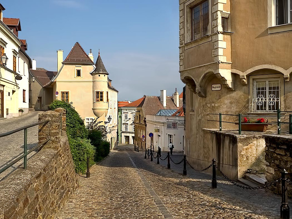 pretty cobbled lane in medieval Krems Austria