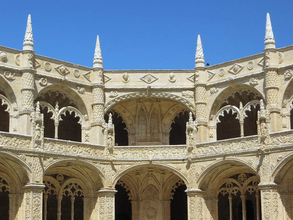 the cloisters of the Jeronimos Monastery in the Belem neighborhood outside Lisbon Portugal