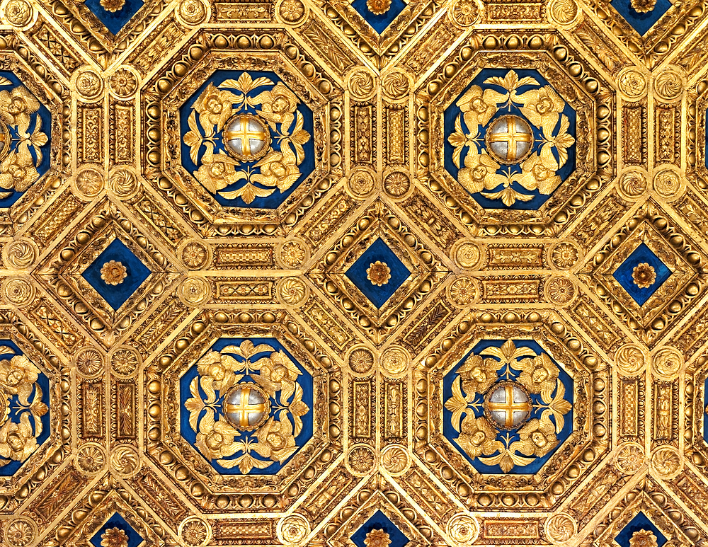 elaborate ceiling in the audience chamber