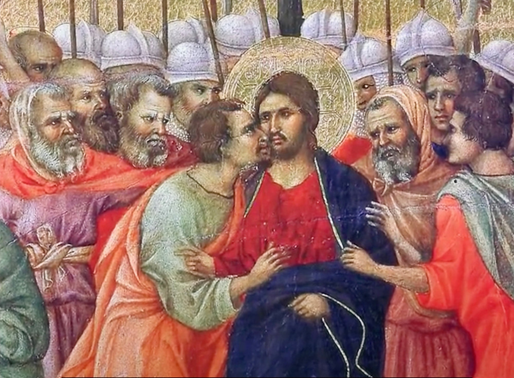 the Kiss of Judas on the back side of the Maesta