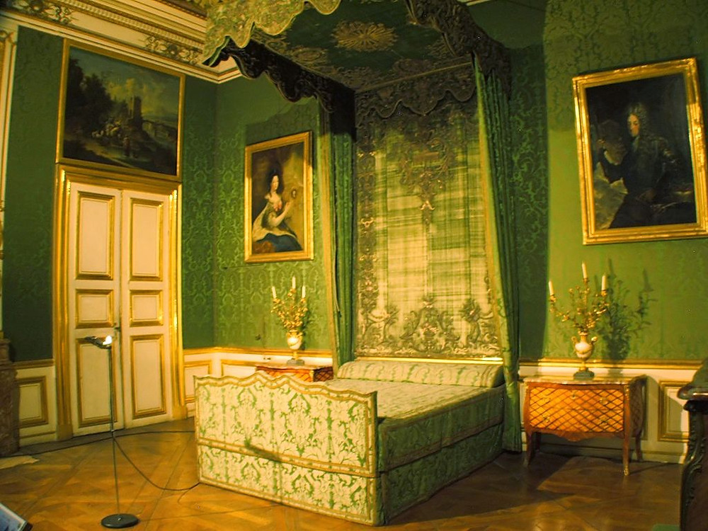 the green Queen's Bedroom in Nymphenburg Palace, birth place of Mad King Ludwig