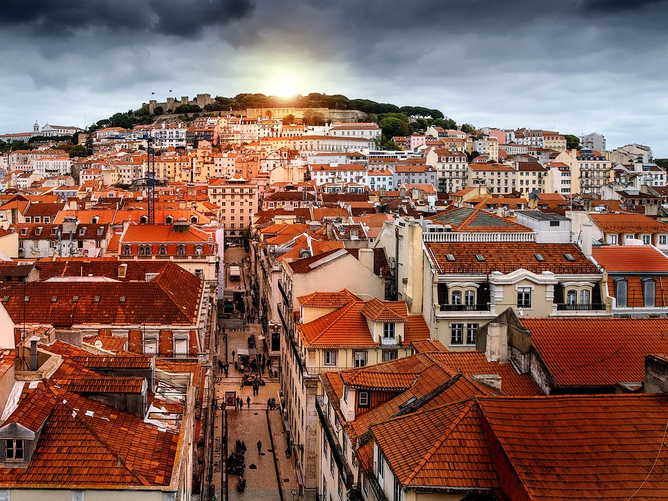 Lisbon Portugal, view from Santa Justa Elevator