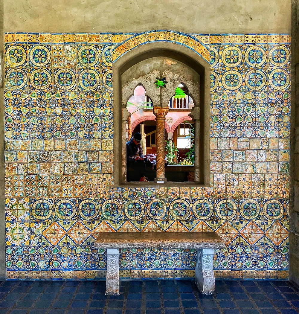 colorful ceramic tiles in the Spanish Cloister