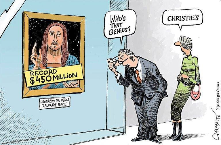 Patrick Chappatte's take on the Salvator Mundi sale/attribution for the New York Times.