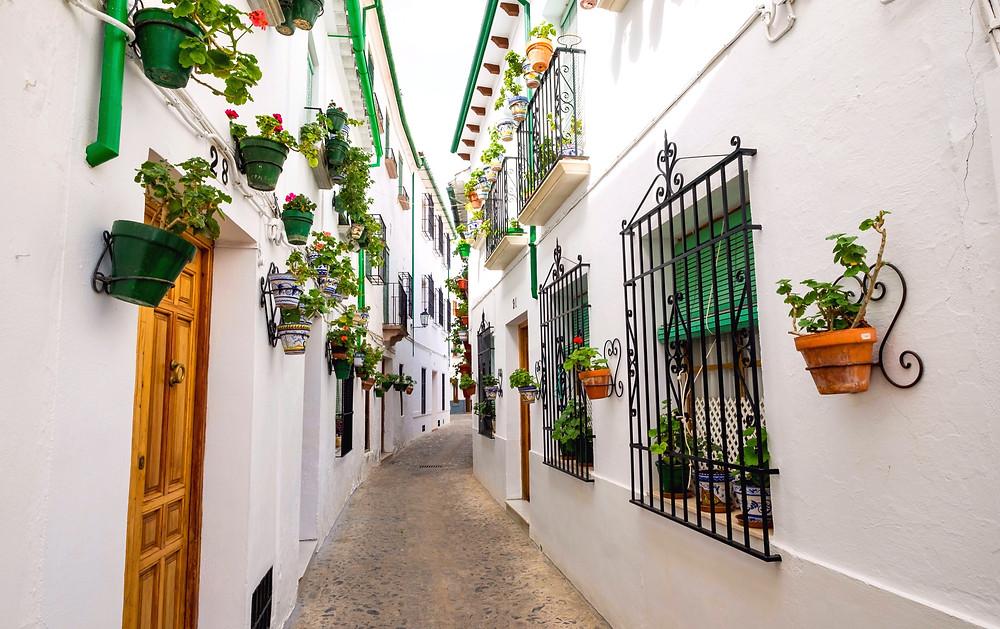 flower-lined street in pretty Priego de Cordoba