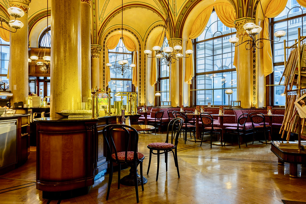 the beautiful interior of the traditional Café Central