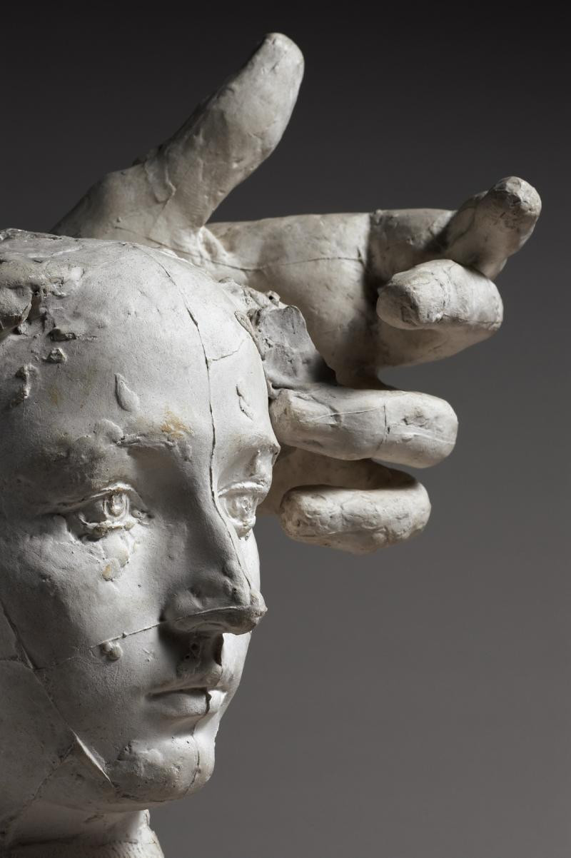 Auguste Rodin, Assemblage: Mask of Camille Claudel and the left hand of Pierre de Wissant, 1895