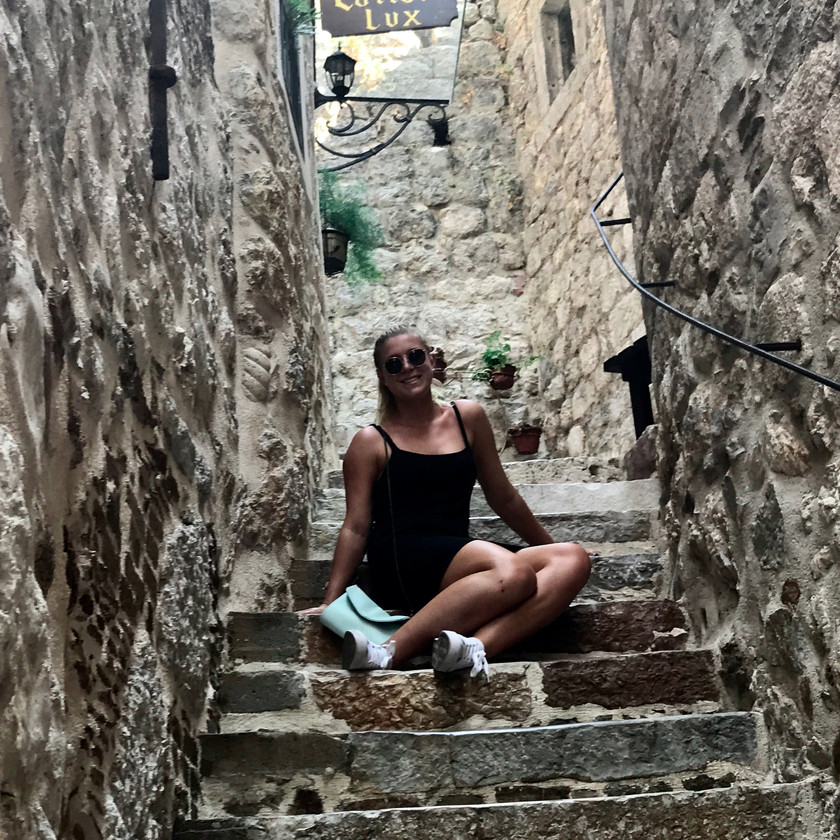 my daughter on the streets of Kotor Montenegro