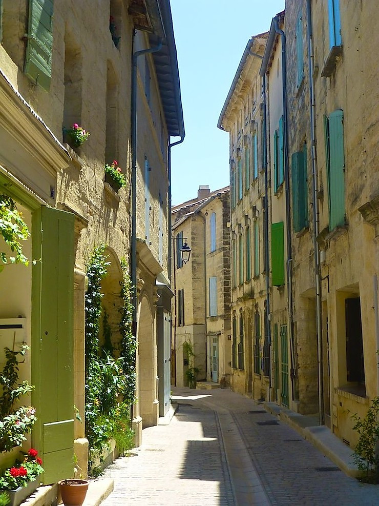 the village of Uzes in Occitanie France, on the border of Provence