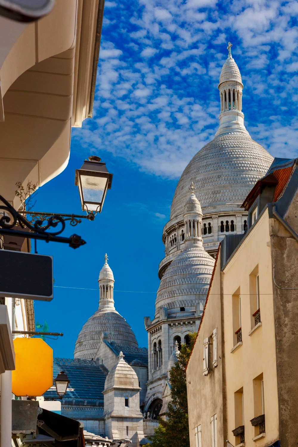 view of Sacre Coeur from Rue du Chevalier de la Barre