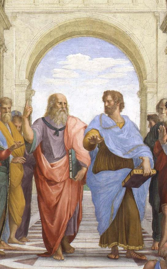 detail of Raphael's famous School of Athens, depicting Plato and Aristotle