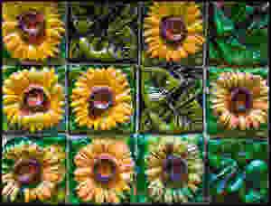 Gaudi sunflower ceramics on the exterior of El Capricho