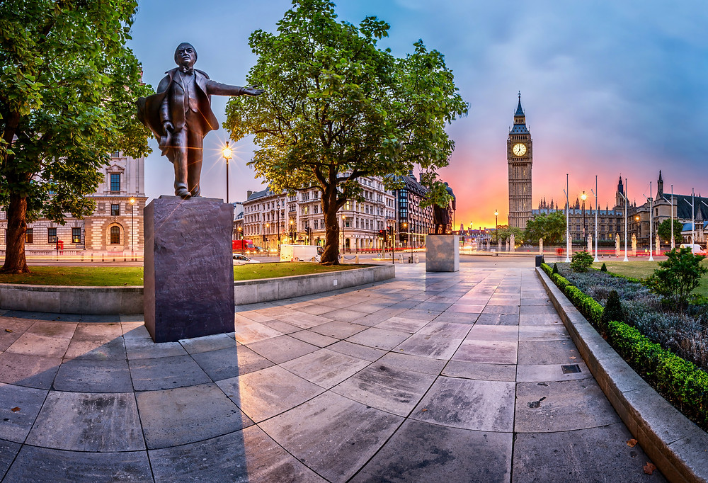 Panorama of Parliament Square in London England
