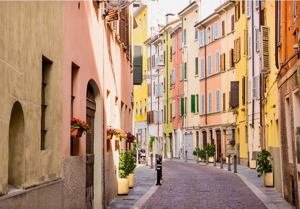 pretty pastel homes in Parma