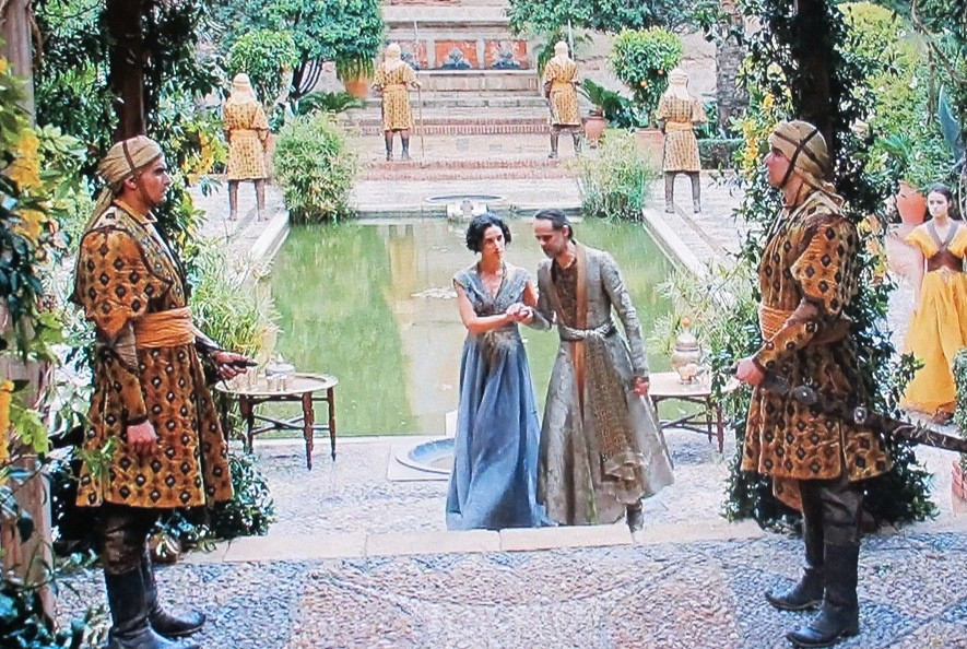 Ellaria Sand and Prince Doran of Dorne in the Almeria Alcazaba