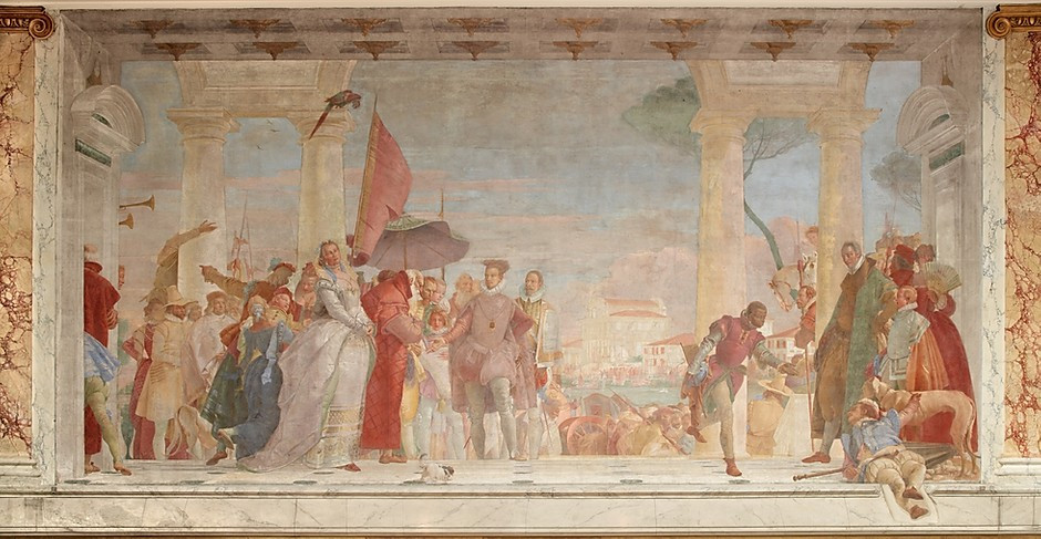 Tiepolo, Henri III Being Welcomed to the Contarini Villa, 1745 -- a massive fresco in the museum