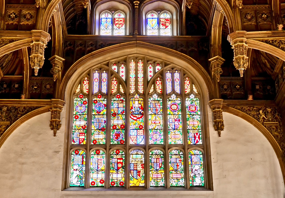 stained glass windows in the Great Hall