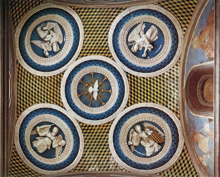 Ceiling decoration of the burial chapel of the Cardinal of Portugal, painted and glazed terracotta, by Luca della Robbia and workshop, 1461-1462