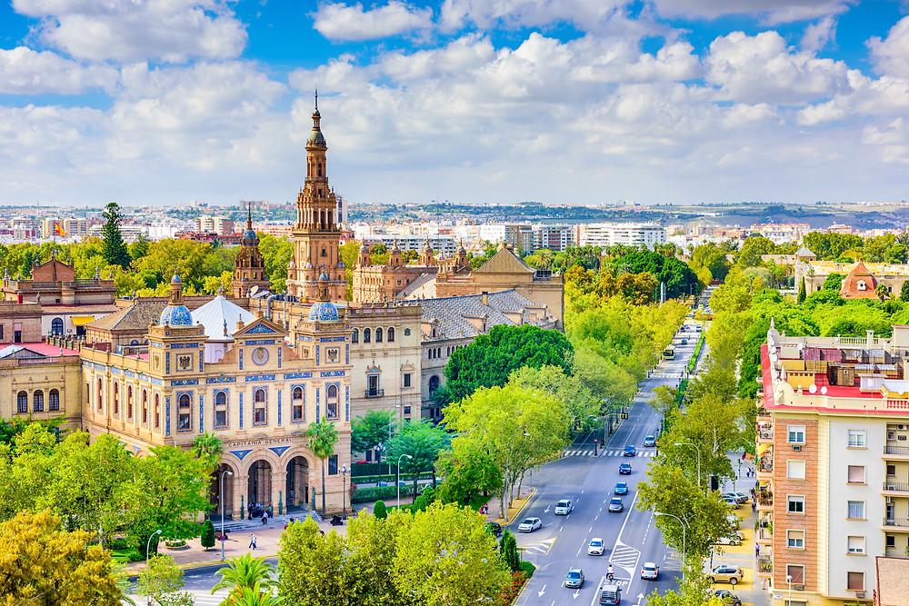 Seville cityscape with Plaza de Espana buildings