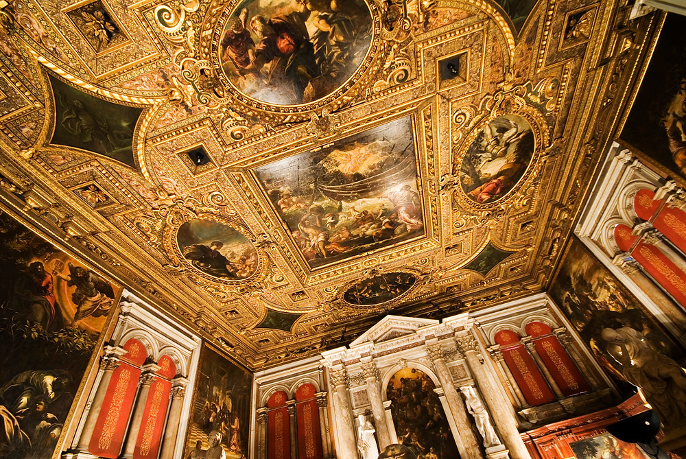Tintoretto frescos in the Sala dell'Albergo