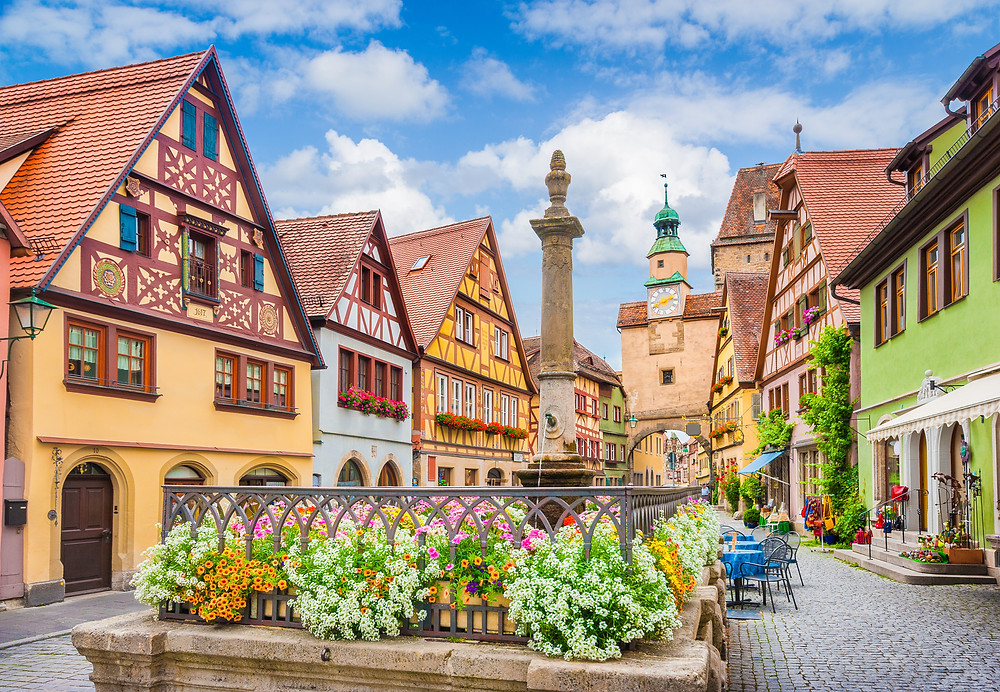 the perfectly preserved medieval city of Rothenburg ob der Tauber in northern Bavaria