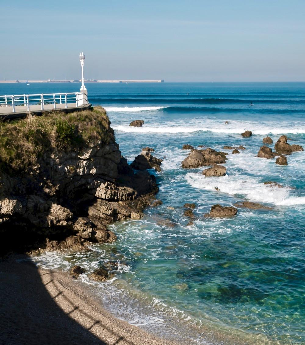 views on the coastal path in Gijon Spain