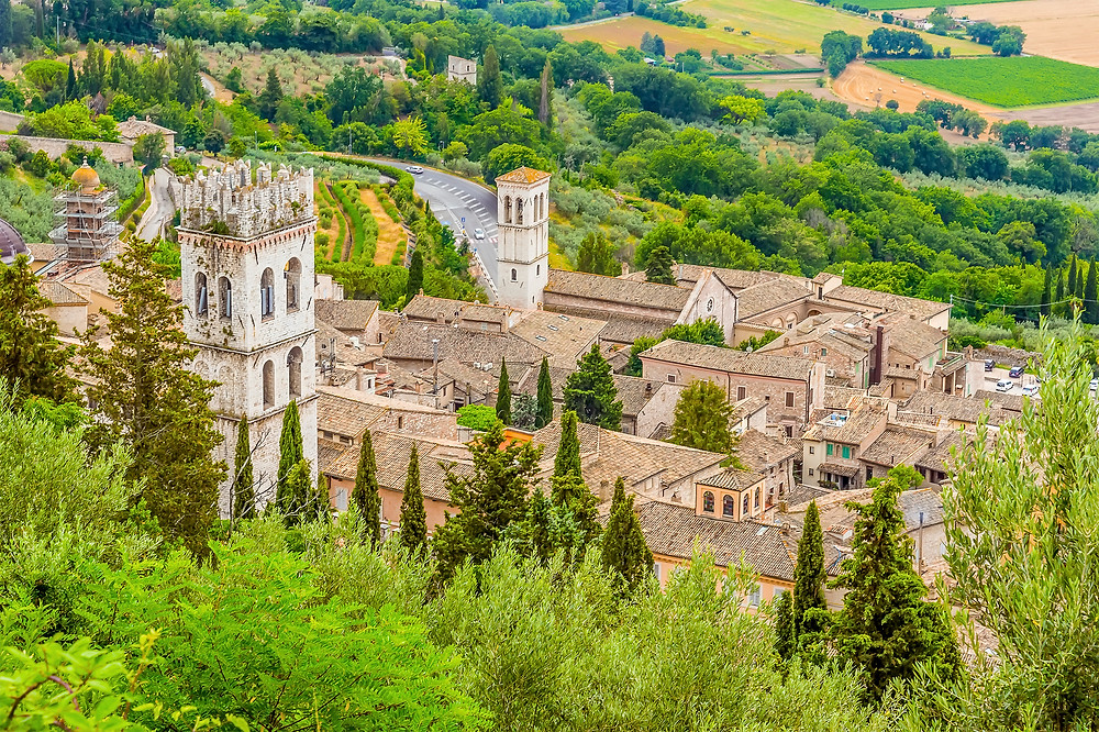 aerial view of Assisi