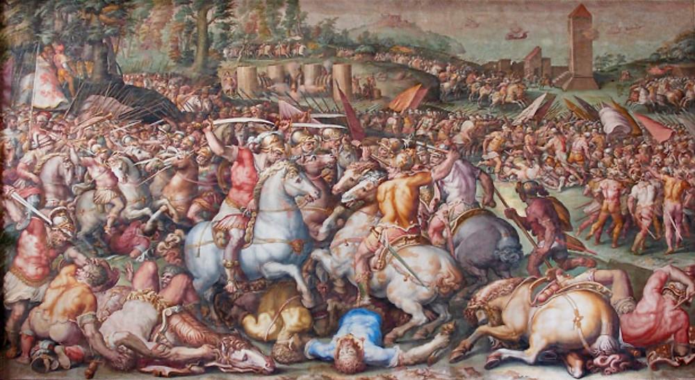 Giorgio Vasari frescos in the Hall of the Five Hundred