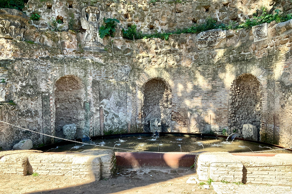 the Nymphaeum of the Mirrors on Palatine Hill, a fountain built to resemble a grotto